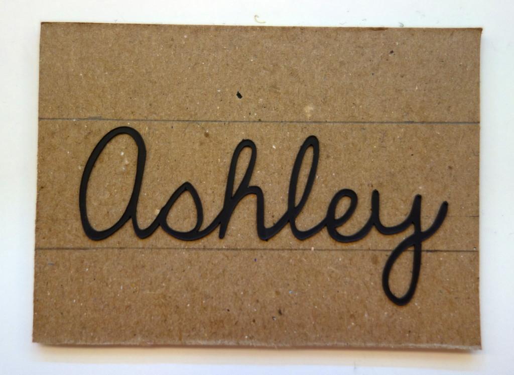 name on cardboard