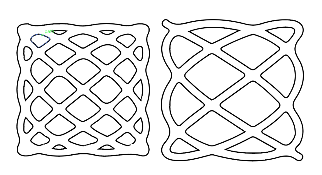 Lissajous shapes with cutting lines
