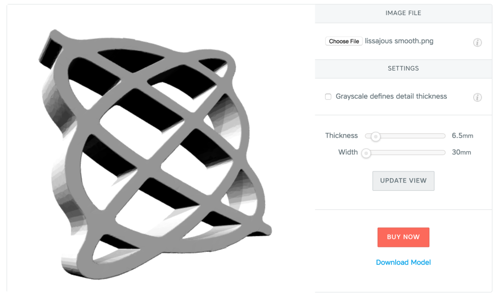 Lissajous curve with Shapeways app